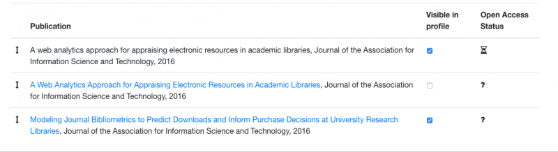"""Screenshot of the publication list on the """"Manage Profile Publications"""" page in the Research Metadata Database"""